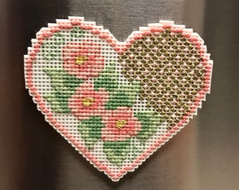 Heart and Flowers Cross Stitch Magnet