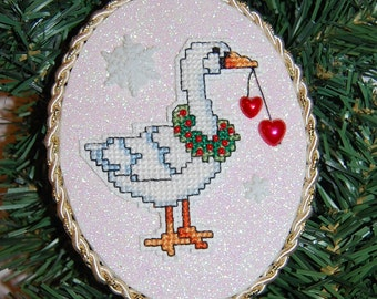 Country Goose Cross Stitch Christmas Ornament