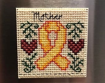 Military Yellow Ribbon Family Member Cross Stitch Magnet