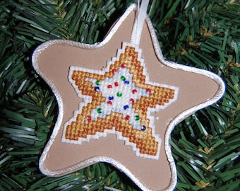 Star Cookie Cross Stitch Christmas Ornament
