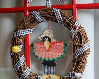 Crow with Watermelon Cross Stitch Wreath
