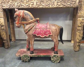 Wooden Horse On Wheels Folk Art Horse Old Horse Sculpture