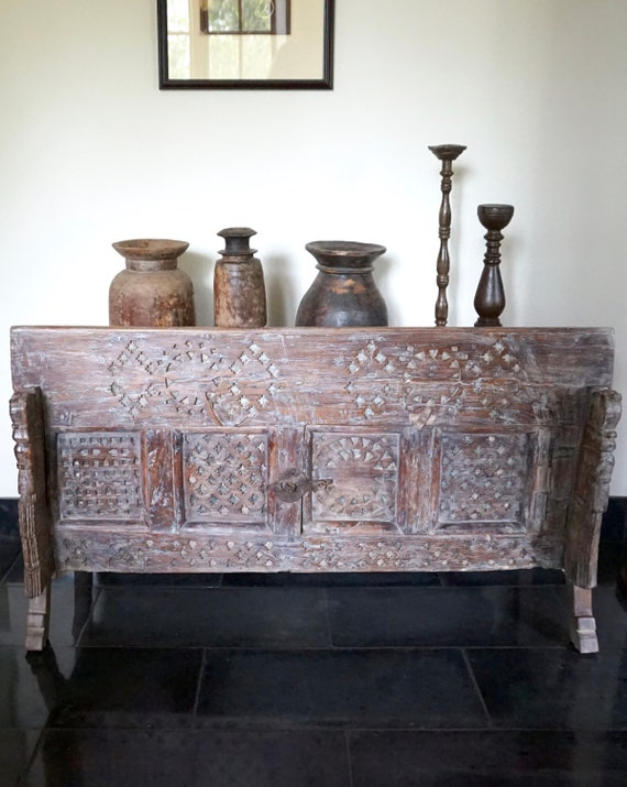 image 0 - Tribal Damchiya Console Carved Antique Console Cabinet Etsy