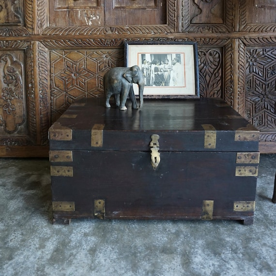 Locked Aged Wooden Chest Wooden Box Decorated Ancient Pompeyan Mosaic Trunk Chest Wooden Box Rustic Jeweler.