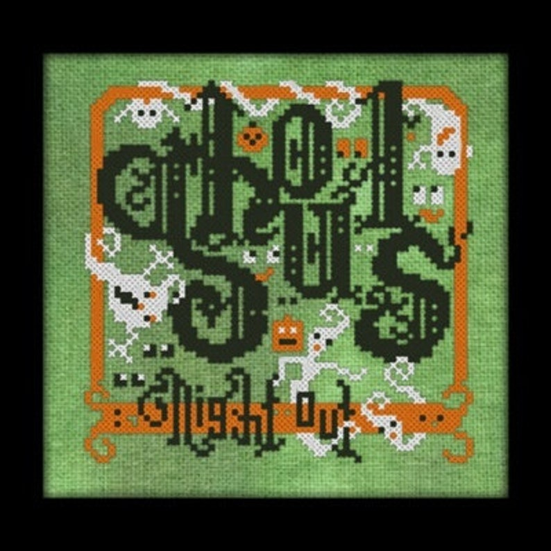 Ghouls Night Out Cross Stitch Pattern   Halloween Cross image 0