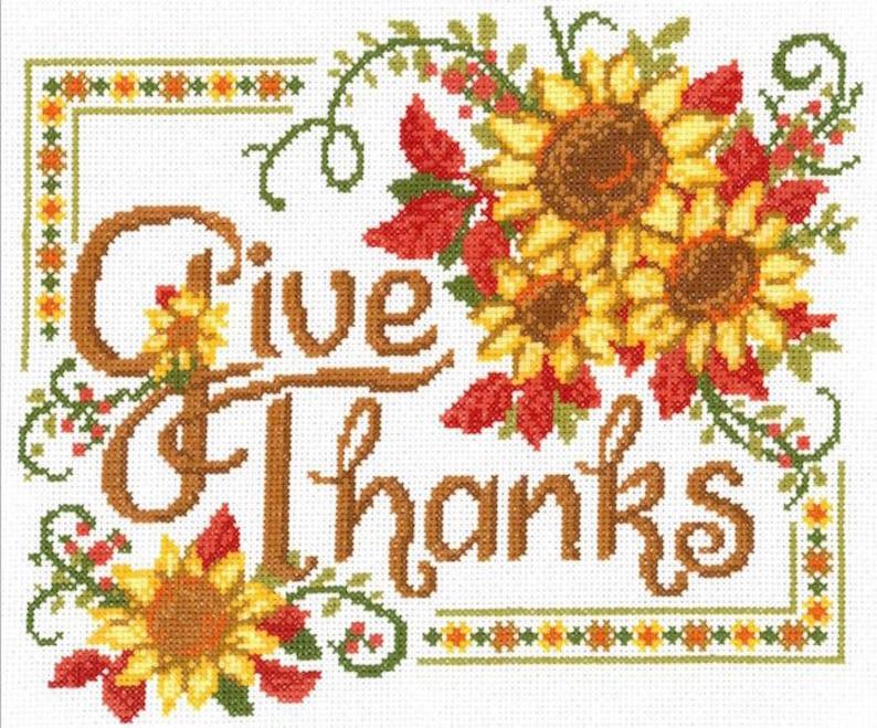 Cross Stitch Kit  Give Thanks Sunflowers   Imaginating Cross image 0