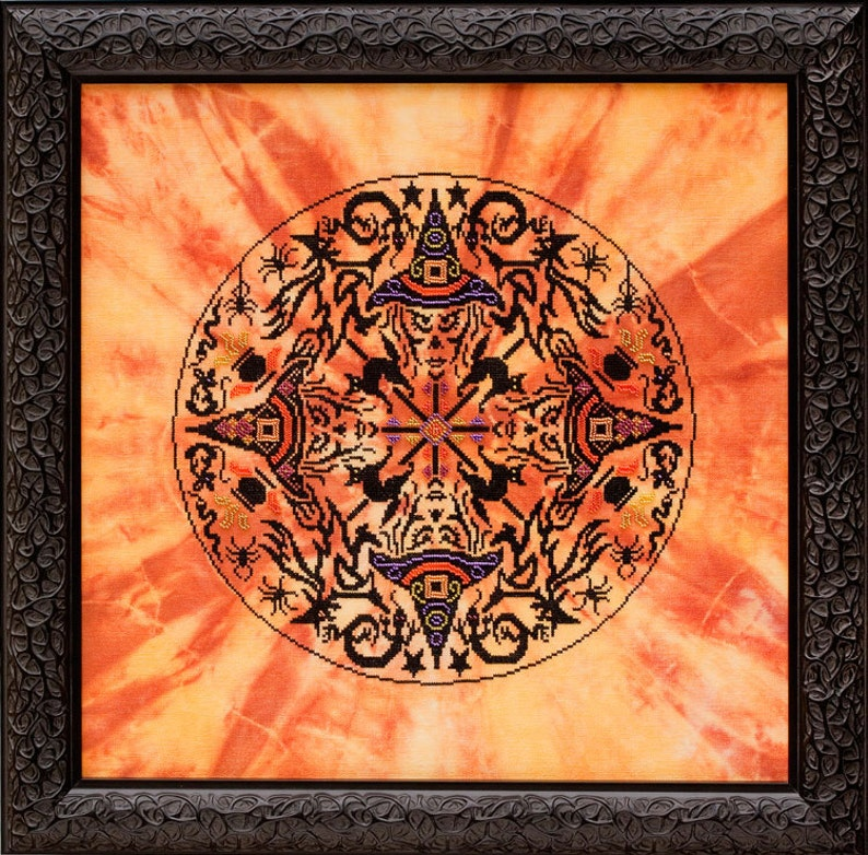 THE WITCHES WHEEL  Halloween Cross Stitch Pattern  Witch image 0