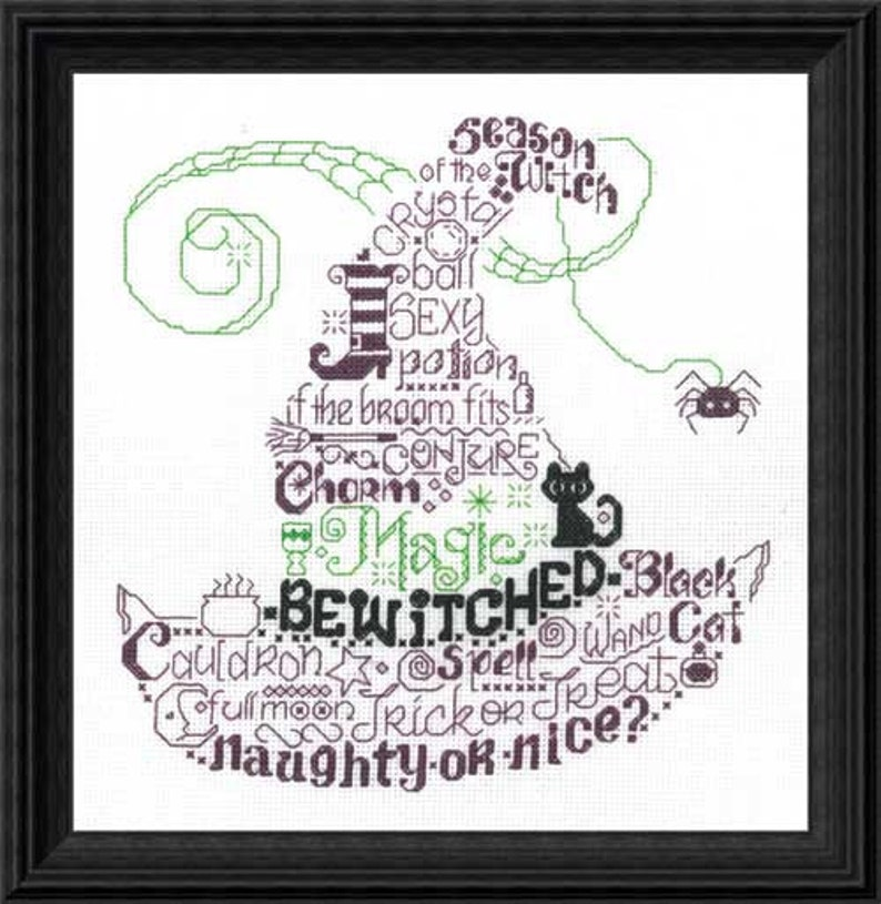 Halloween Cross Stitch Kit  LETS BE WICKED   Witch Cross image 0