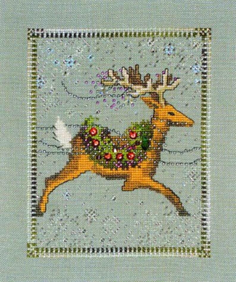 Dasher Cross Stitch Pattern  Mirabilia Nora Corbett Reindeer image 0