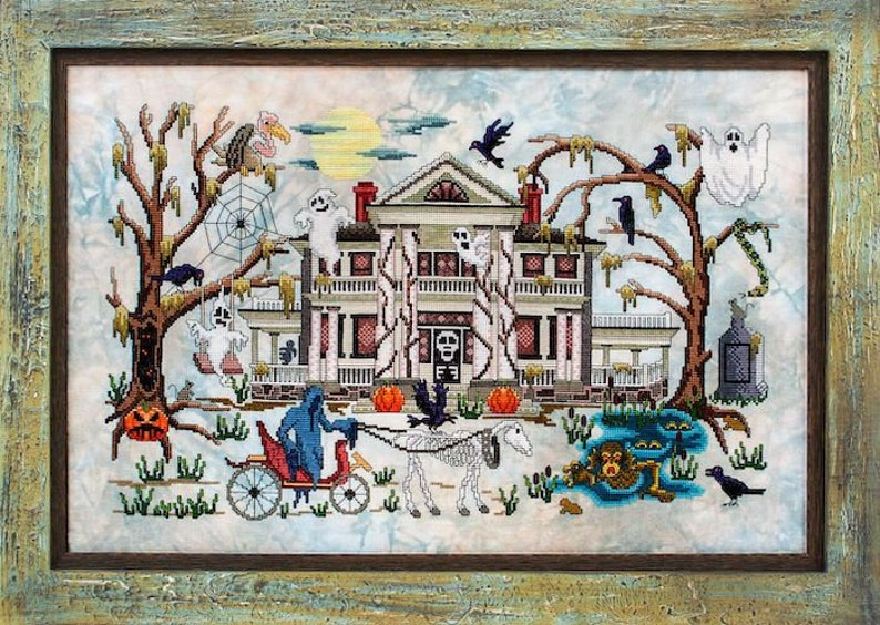 Phantom Plantation Cross Stitch Pattern  Halloween Cross image 0