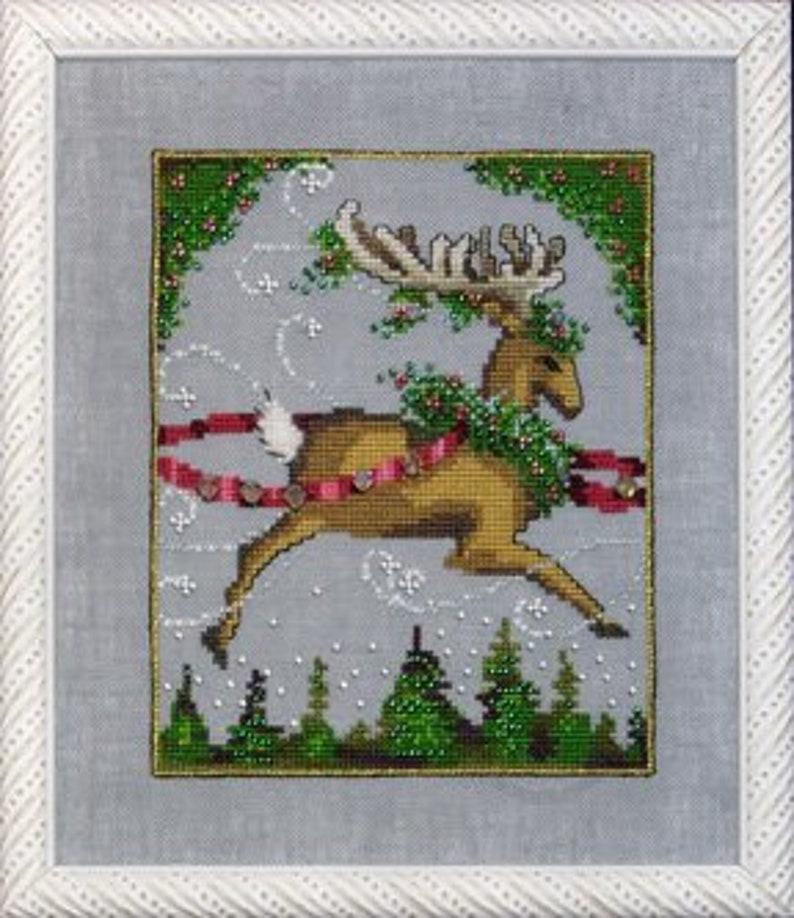 Blitzen Cross Stitch Pattern  Mirabilia Nora Corbett Reindeer image 0