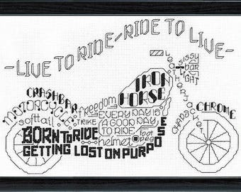 Let's Ride - Imaginating Cross Stitch Pattern - Motorcycle Cross Stitch Pattern - Born to Ride Cross Stitch