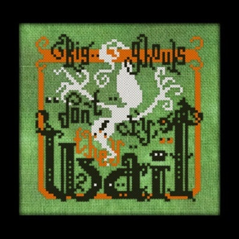 Big Ghouls Dont Cry Cross Stitch Pattern   Halloween Cross image 0