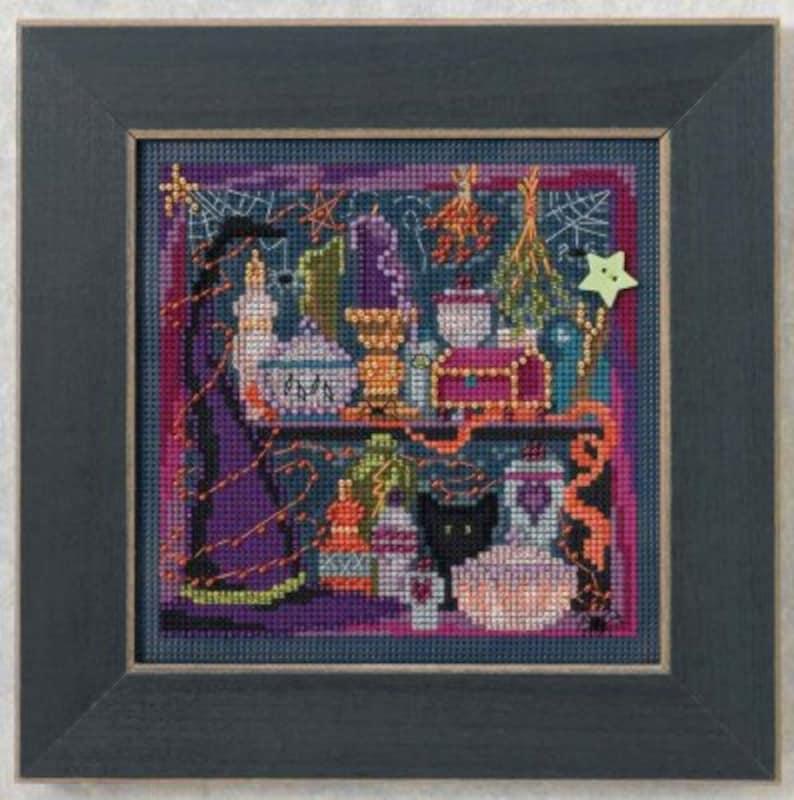 Mill Hill Kit - WANDA'S WITCHERY - Button & Bead Halloween Cross Stitch Kit  - beaded mill hill cross stitch witch hat