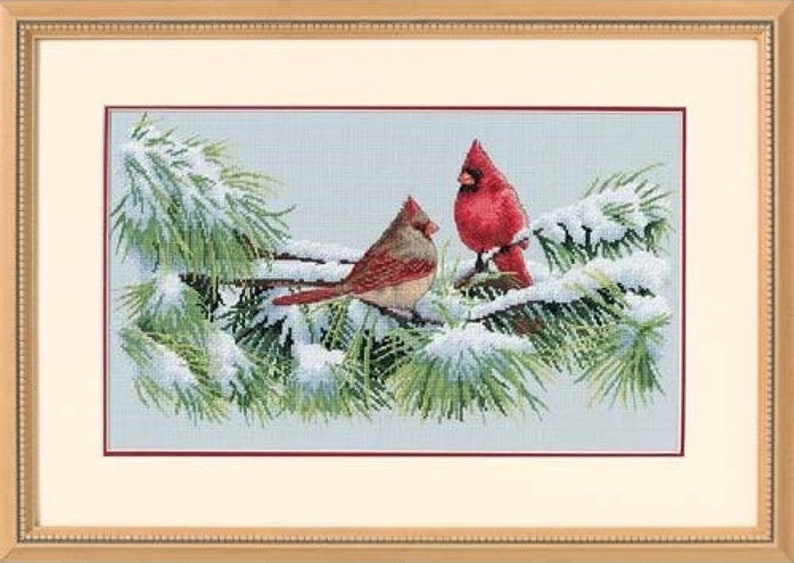 Cross Stitch Kit  Winter Cardinals  Dimensions Counted Cross image 0