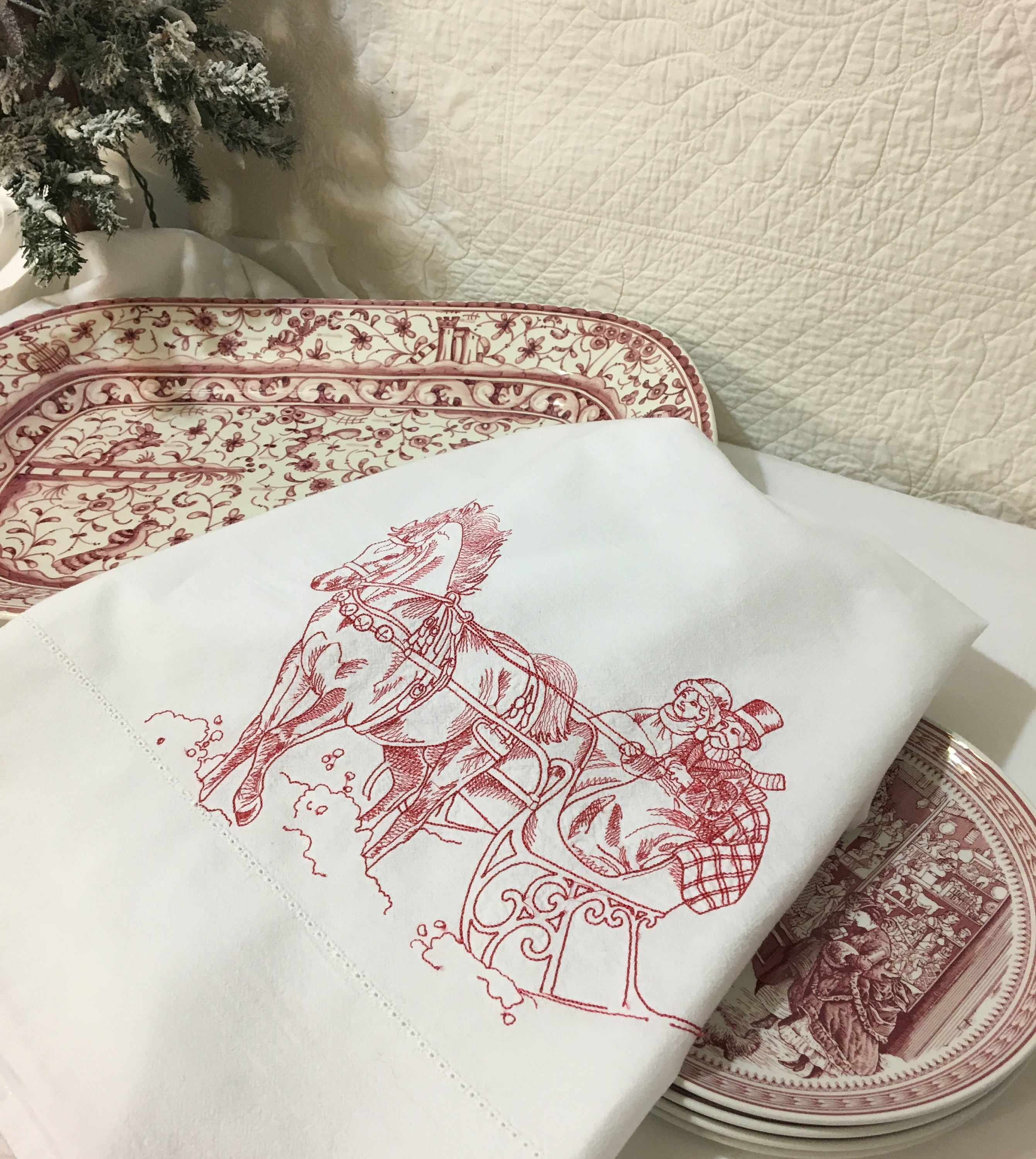 Embroidered And Hemstitched Tea Towel Flour Sack Christmas