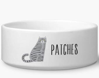 Personalized cat bowl, Gray Tabby personalized cat food or water bowl with custom name, gift for cat lovers