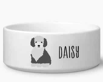 Personalize dog bowl, Sheepdog dog food pet bowl personalized custom name, dog gifts