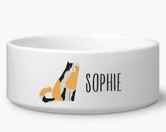 Personalized cat bowl, Calico cat food or water bowl with custom name, white ceramic dishwasher and microwave safe