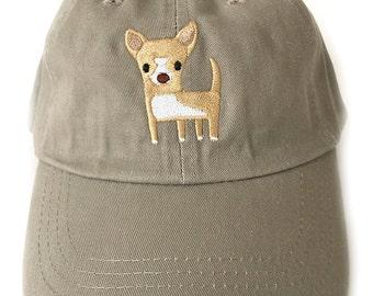 Chihuahua baseball cap, khaki full brim baseball cap