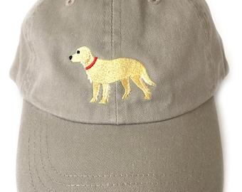 Golden Retriever baseball cap, embroidered Golden Retriever ball cap low profile curved bill Khaki