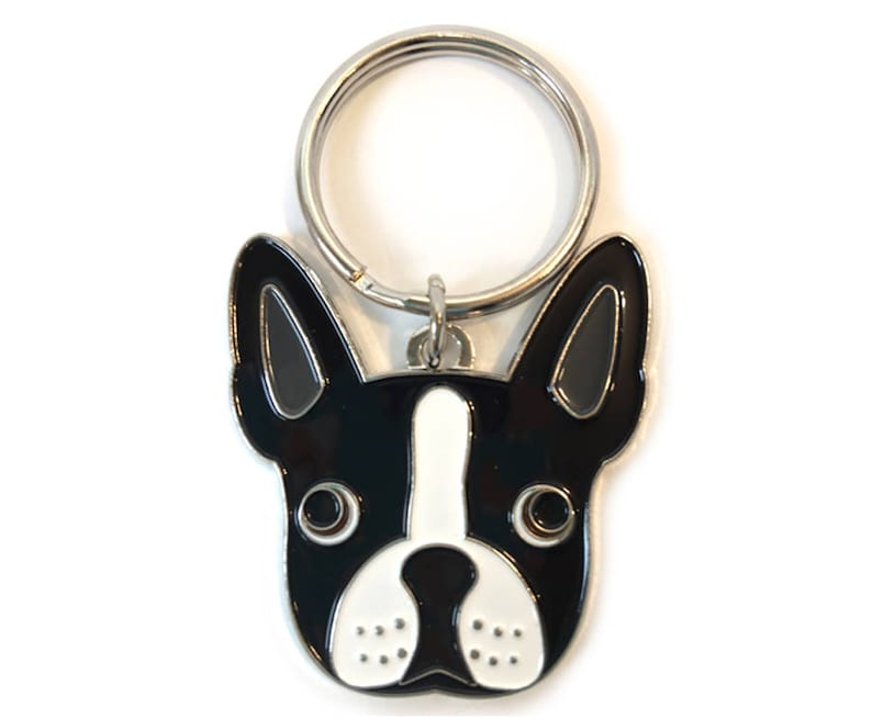 Boston Terrier Key Chain for Home or Car Silver Tone Original Design 1 Split Ring
