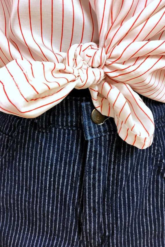 Pinstripe High-waisted Jeans - image 5