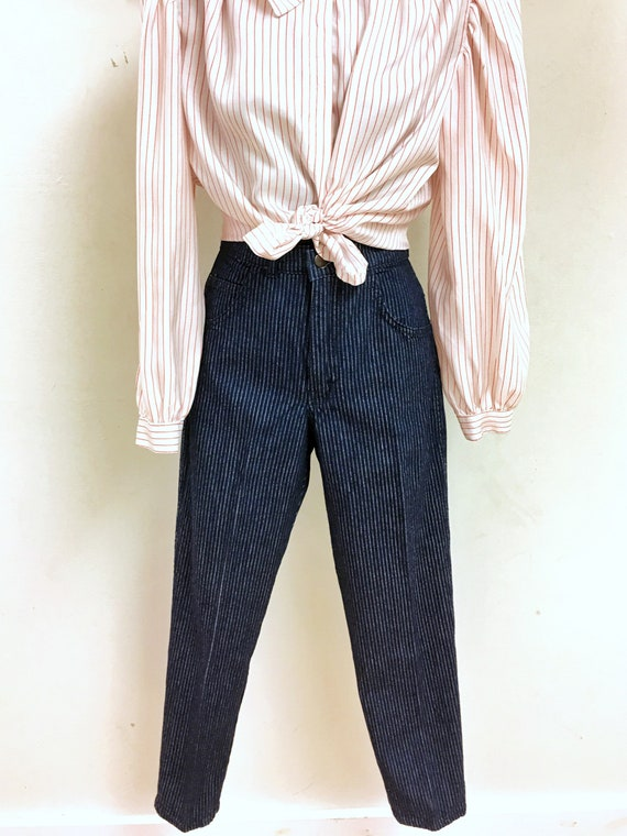 Pinstripe High-waisted Jeans