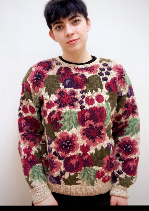 """Hand-Knit Floral """"Ugly Sweater"""""""