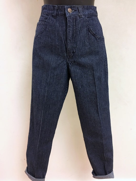 Pinstripe High-waisted Jeans - image 2
