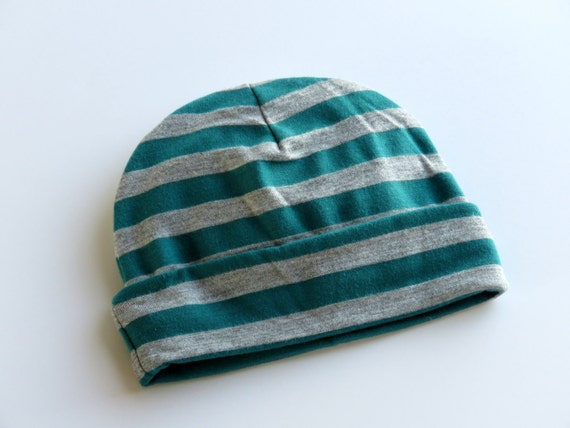 0cfed760019 Cotton Jersey Knit Baby Beanie Hat Girl Boy Neutral Teal