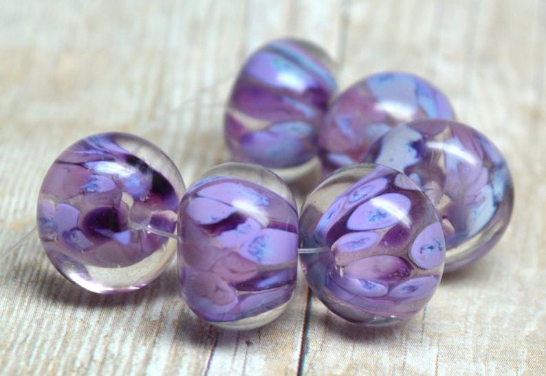 PAIR 2 lampwork beads... SRA handmade encased classic frit image 0