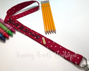 Teacher Lanyard ID Badge Holder with PENCIL / Personalized / Monogrammed / Teacher Appreciation Gift/ Preschool Teacher Gift/ Gifts for her