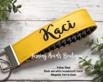 Wristlet Monogrammed Key Fob / Personalized Vinyl Keychain / Wristlet  Keychain / Gift for her/ Teacher gift/ Birthday/ Valentines Day