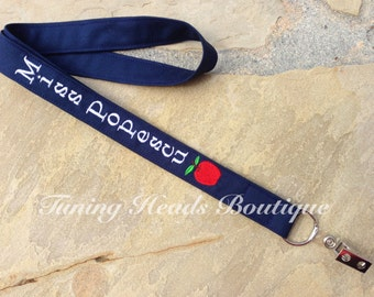Teacher Lanyard ID Badge Holder with APPLE /Personalized ID Strap/ Teacher Appreciation Gift/ Preschool Teacher Gift/ Gifts for her under 30