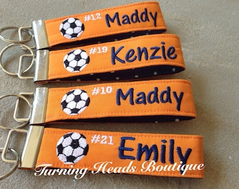 Personalized Sports Tag / Sports keychain / Monogrammed Key fob / Soccer bag tag / team gift/ Coach gift/ Soccer ID tag/