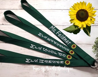 Teacher Lanyard ID Badge Holder with SUNFLOWER / Personalized / Monogrammed / Teacher Appreciation / Preschool Teacher Gift/ Gifts for her
