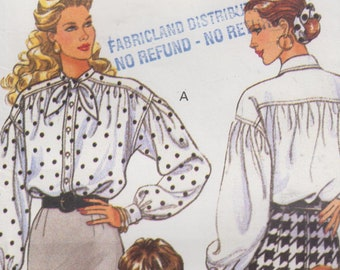 """Womens Blouse EASY UNCUT Sewing Pattern Loose Fit Drop Shoulders Full Sleeves Vintage 90s Size 12-16 Bust 34-38"""" (87-97 cm) Butterick 5581 S"""
