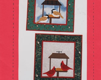 """Quilting Pattern for Wall Hanging - Chickadees and Cardinals At The Bird Feeder - 18.5 X 23.5"""" - A Little Bit Country Sewing Pattern 9605  S"""