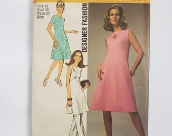 """Sewing Pattern for Easy Mod Dress, Tunic & Pants - Vintage 70s Dress Pattern Size 14 Bust 36"""" (91 cm)- Simplicity 9346 G"""