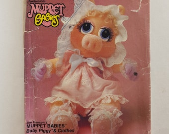 UNCUT Vintage Sewing Pattern for Baby Miss Piggy Doll Clothes Jim Henson's Muppets Vogue 599 G