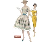 """Vintage 60s Women's Sewing Pattern Easy Wiggle Dress or Full Skirt Two Tone Bateau Neckline Size16 Bust 36"""" (91 cm) Advance 9334"""