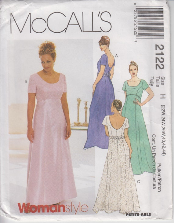 7f7577782a UNCUT Sewing Pattern for Empire Waist Prom or Formal Dress