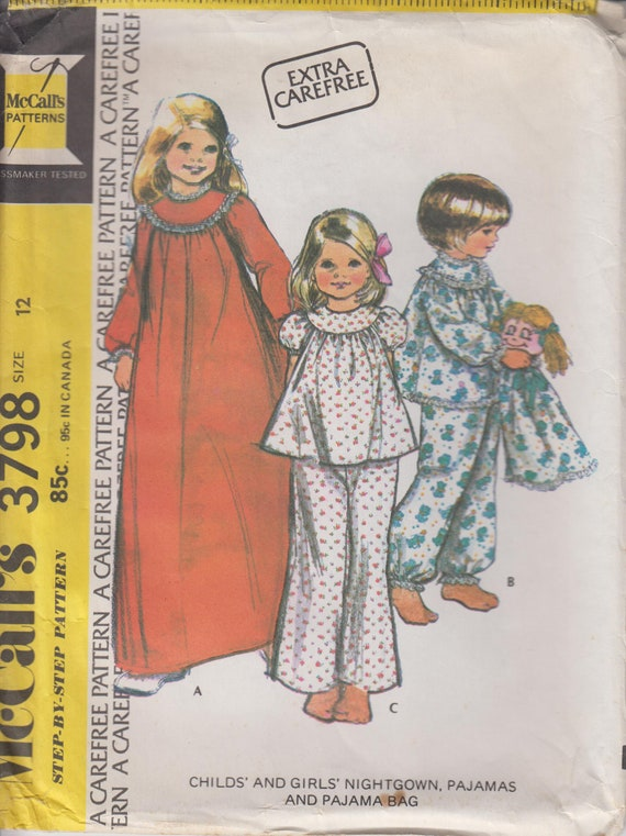 Childs Sewing Pattern For Nightgown Pajamas And Pajama Etsy