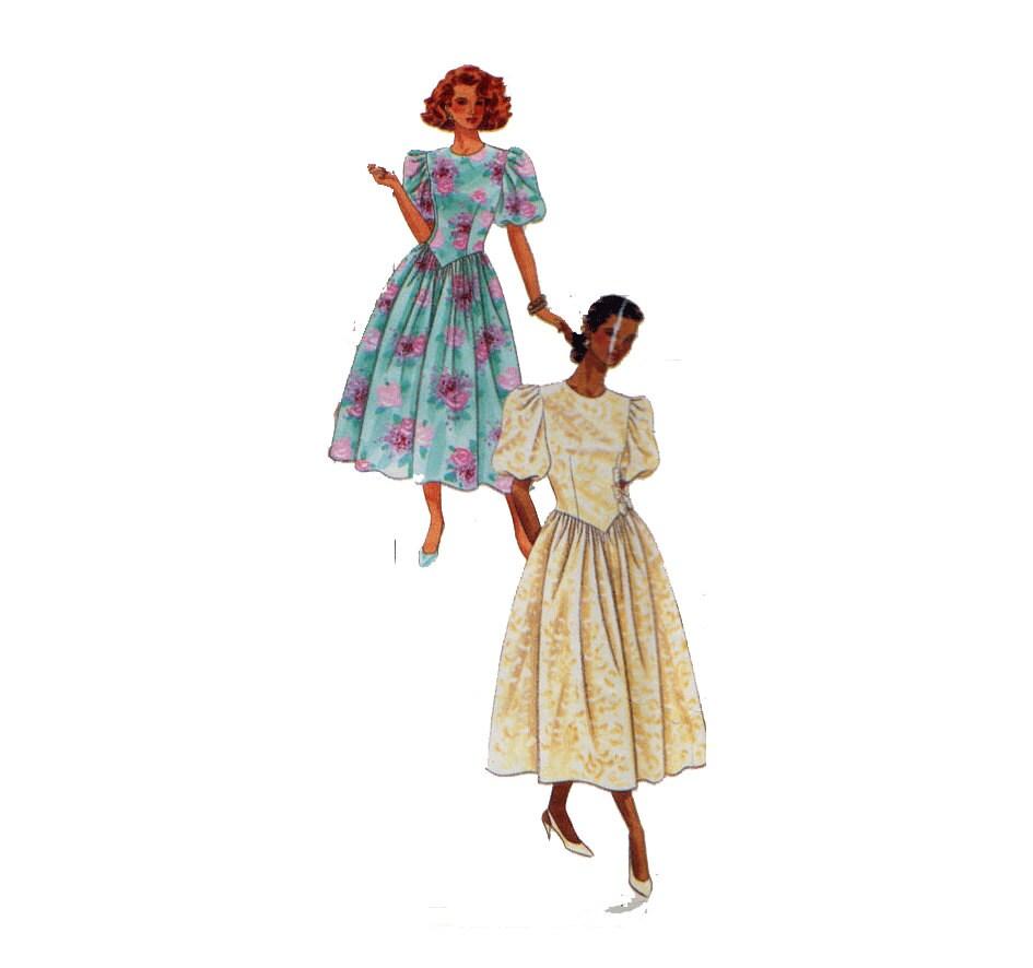 años 90 prom vestido cintura Vasco Puff mangas de Dama de | Etsy