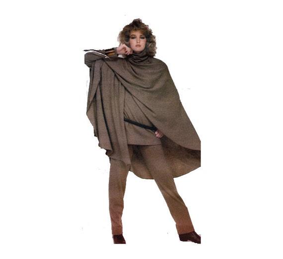 80s Very Easy Vogue Anne Klein Dress Tunic Pants Split Poncho Vintage UNCUT Sewing Pattern Size 6 Bust 30.5