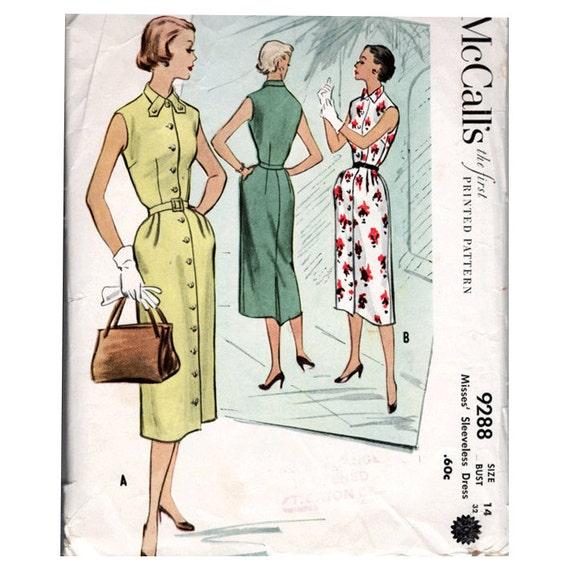 50s del vestido coser patrón sin mangas con cinturón frontal | Etsy