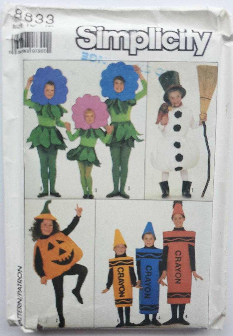 Sizes 10-12 Pumpkin and Crayon Costume Chest 28.5 to 30 Snowman Sewing Pattern for Boys/' /& Girls/' Flower Simplicity 8833 G