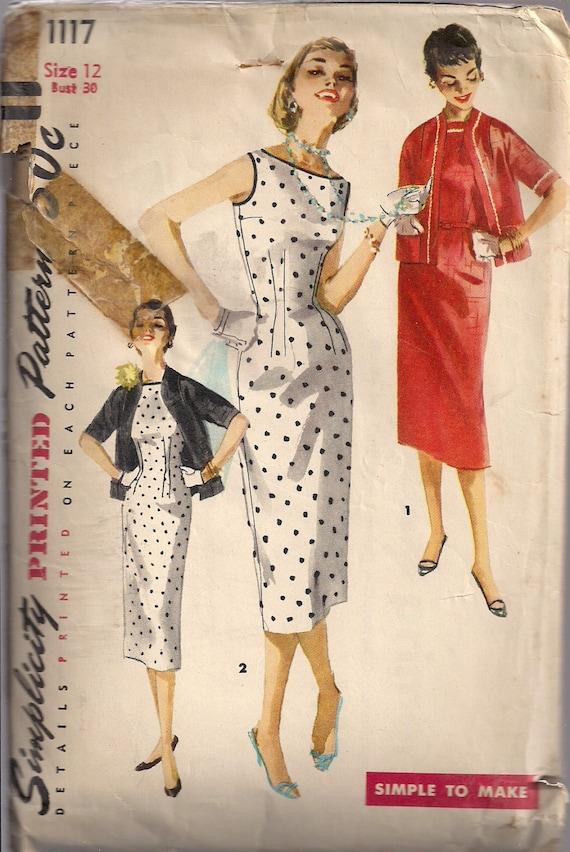 50er Jahre Kleid nähen Muster Bateau-Ausschnitt ärmellos | Etsy