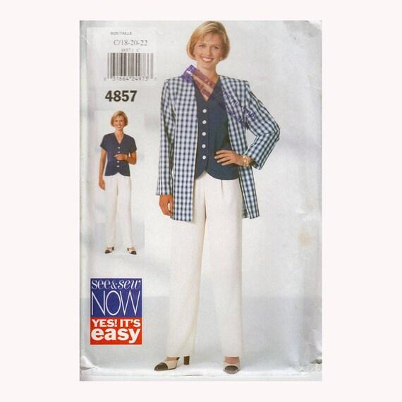 Einfache Schnittmuster für Damen-Jacke, abgerundeter Saum Bluse und geradem Bein Hose ungeschnitten Vintage 90er Jahre Größe 18-22 Büste 40-44\